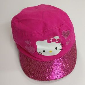 Hello Kitty Sparkly Pink Girls Hat with Hearts